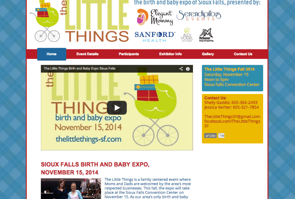 Website for The Little Things Birth and Baby Expo in Sioux Falls, South Dakota