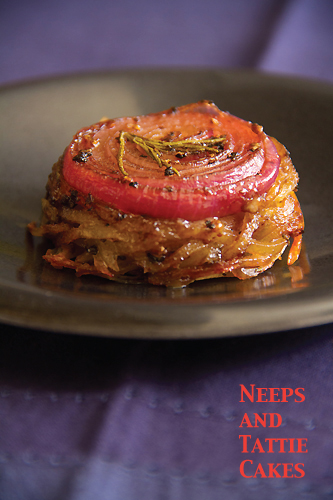 Onion-Topped Potato & Rutabaga Cakes