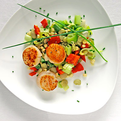 succotash with seared scallops