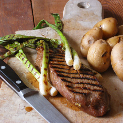 strip steak grilled scallions