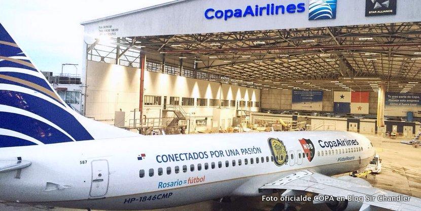 El 737 de COPA llegará a Rosario ploteado con Newells y Rosario Central
