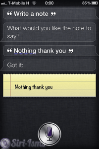 Write A Note - Siri Says