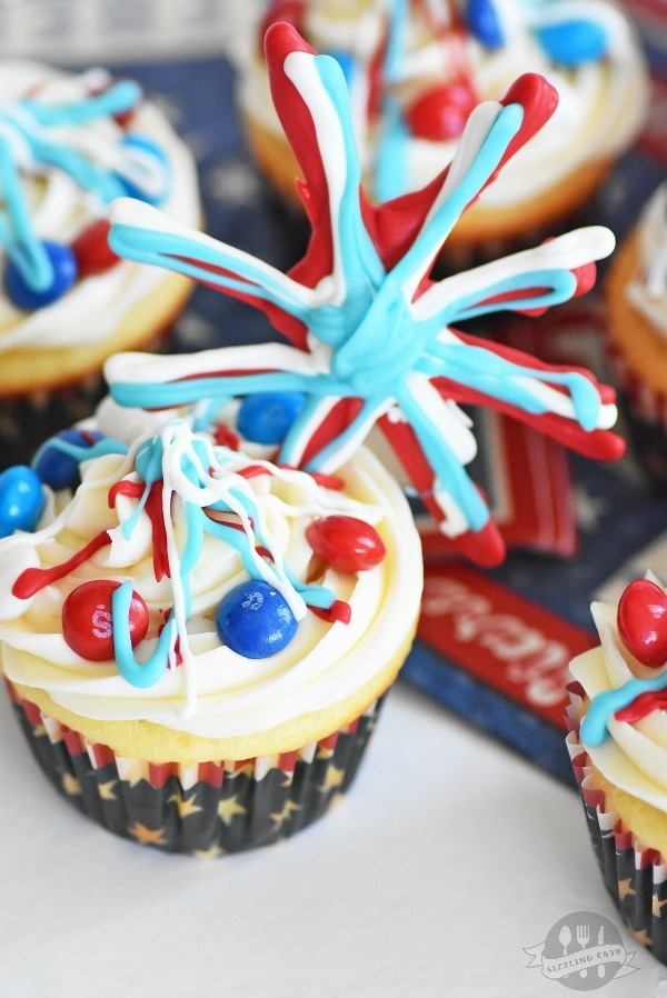 Patriotic Surprise Firework Cupcakes