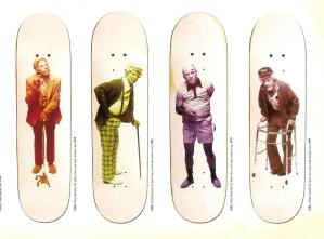"Guy Mariano ,Erick Koston, Rick Howard, Mick Carroll, fotografados como ""velhos""."