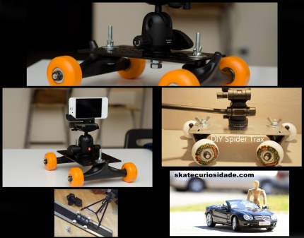 Rodas e trucks de skate - a base do Diy Spider Trax...