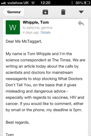 screen grab of an email to WDDTY from Tom