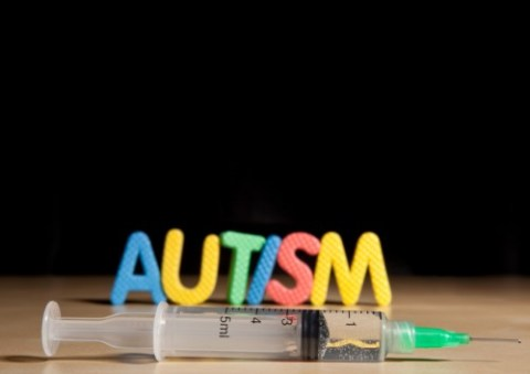 Vaccines don't cause autism. And that syringe is too large to ever be used for immunizations. Except for horses. Maybe.