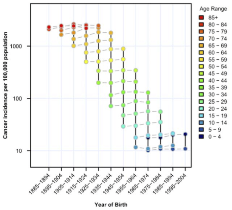 © Cancer research, 2009. All-site cancer mortality rates at different ages by decade of birth. Mortality rates for 40 to 79 year olds are plotted stratified by age and plotted by year of birth.