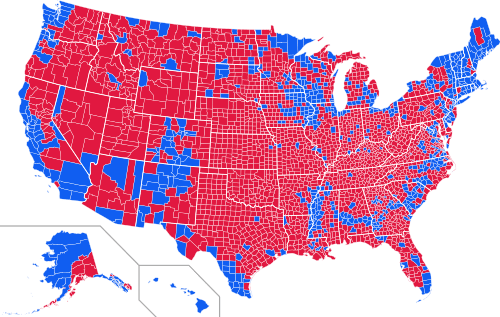 ©Wikipedia Commons, 2014. Results of 2012 United States Presidential election by county. Red indicates counties that voted for Mitt Romney, blue indicates counties that voted for President Barack Obama.