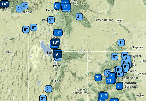 Snow Storm Totals Utah, Colorado, Idago and Wyoming