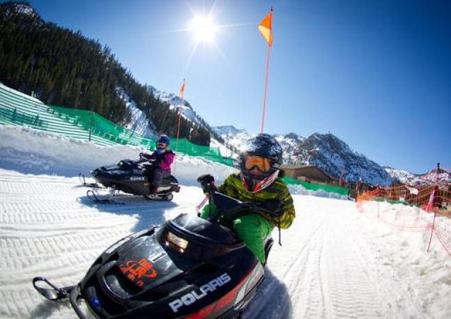 Mini snowmobiles at Squaw Valley's SnoVentures