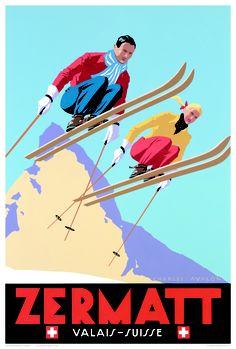 Zermatt Vintage Ski Poster, Zermatt Ski Poster, Ski Poster, Vintage Ski Poster