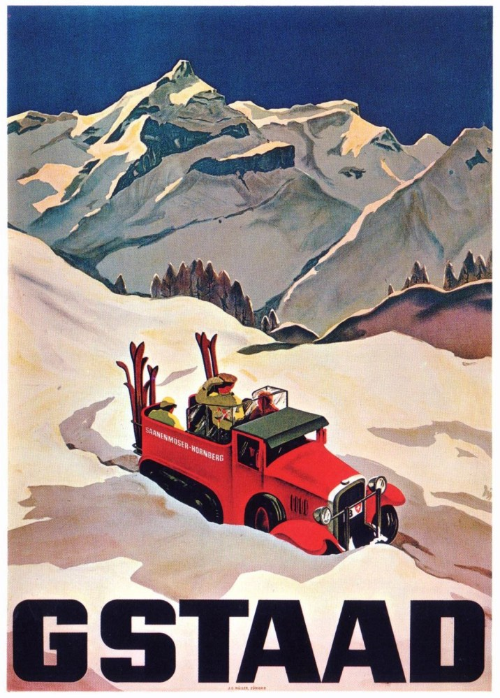 Gstaad Vintage Ski Poster, Vintage Ski Poster