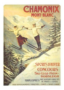 Mont Blanc Vintage Ski Poster, Monte Blanco Vintage Ski Poster,