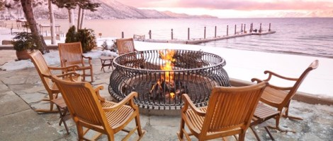 The Hyatt Regency Lake Tahoe offers a lakeside fireplace, perfect for sunsets.