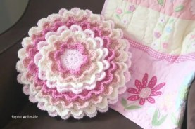 blooming crochet flower pillow