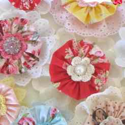 Gorgeous Yo Yo Flower Hair Clips