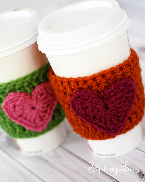 Valentines Roundup - crochet heart coffee cozy