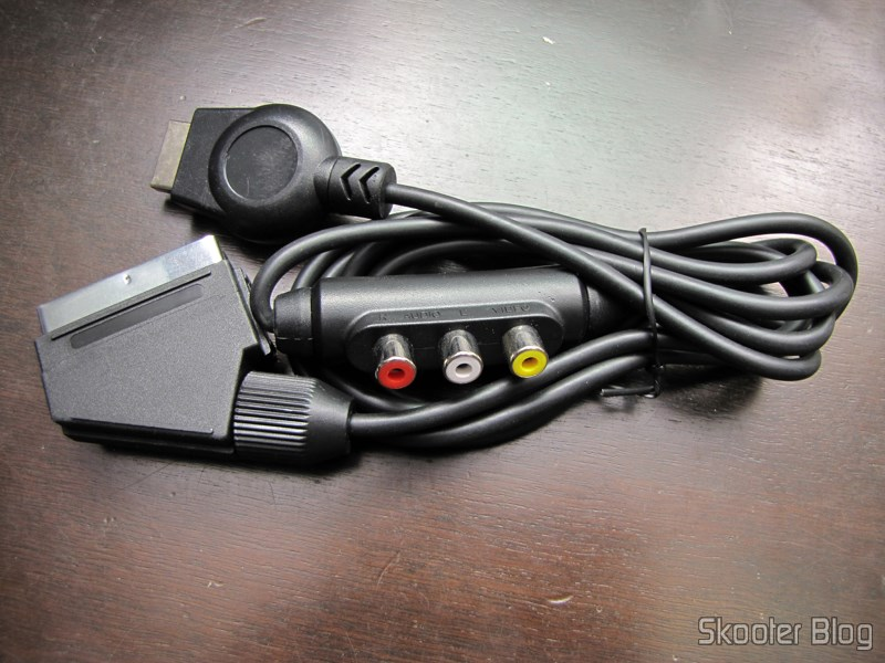 Play-Asia: Cabo SCART RGB para Playstation 1/2 com Áudio e Saída para Guncon (RGB Cable with Audio and Guncon output)