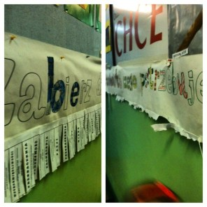"Banner at school: ""Take what you need for the day"" Love, forgiveness, mercy were a few of the words."