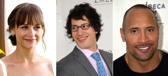 Rashida Jones, Andy Samberg, Dwayne Johnson