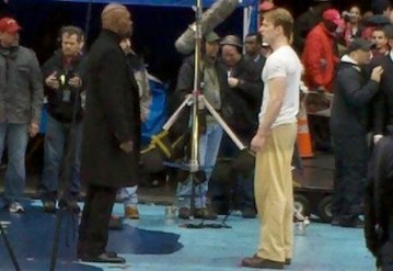 Samuel L. Jackson and Chris Evans Filming 'Captain America'