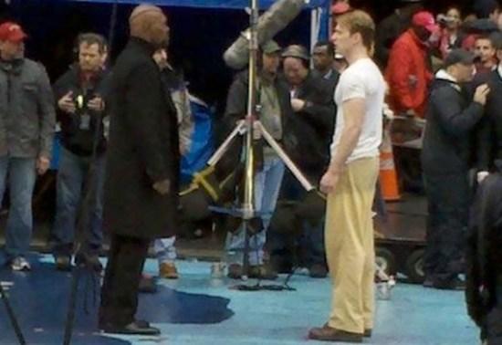 Samuel L. Jackson and Chris Evans Filming 'Captain America'