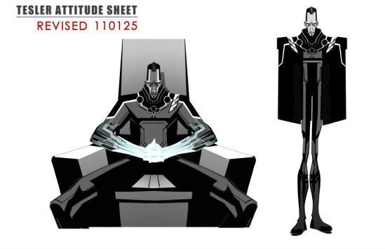 TRON Uprising Concept Art - Tesler Attitude Sheet