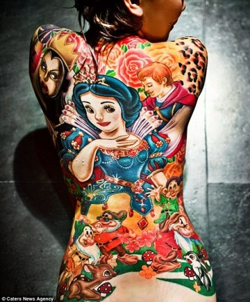 Snow White back tattoo