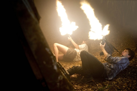 TERRA NOVA: Allison Miller (L) as Skye and Landon Liboiron (R) as Josh Shannon