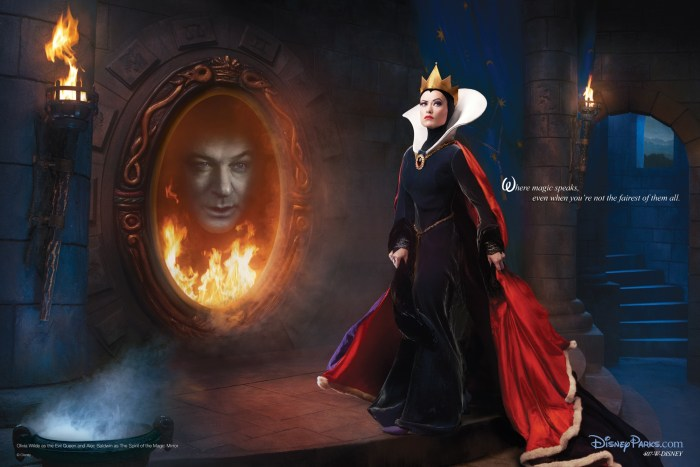 Olivia Wilde as the Evil Queen and Alec Baldwin as the spirit of the magic mirror from Snow White and the Seven Dwarfs