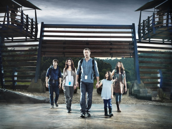 TERRA NOVA: The Shannon Family (L-R): Landon Liboiron, Shelley Conn, Jason O'Mara, Alana Mansour and Naomi Scott