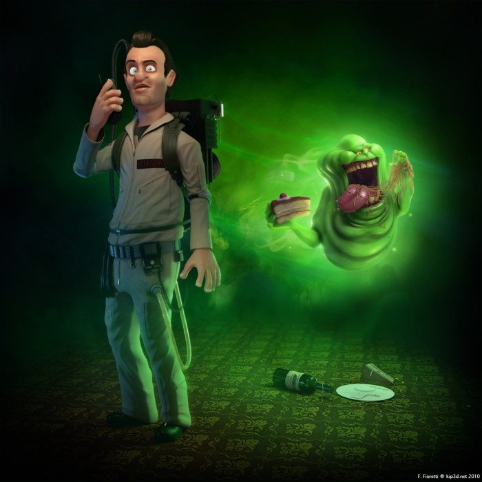 CGI Ghostbusters: Peter Venkman with Slimer