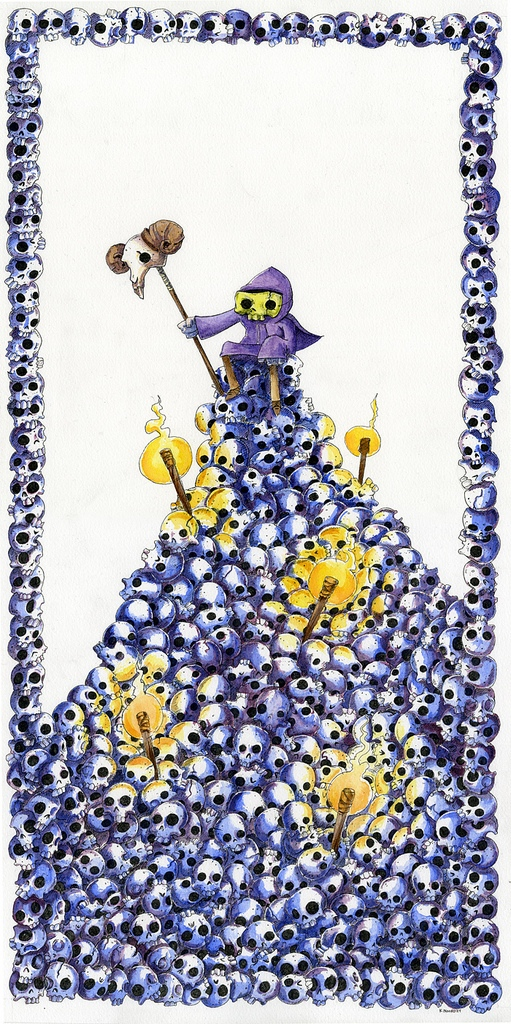 Under The Influence Art Show: Masters of the Universe - Skeletor Atop a Throne of Skulls by Keith Noordzy