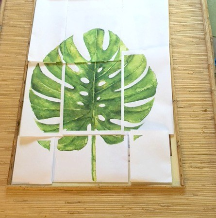 Bamboo Frame with Tropical Leaf