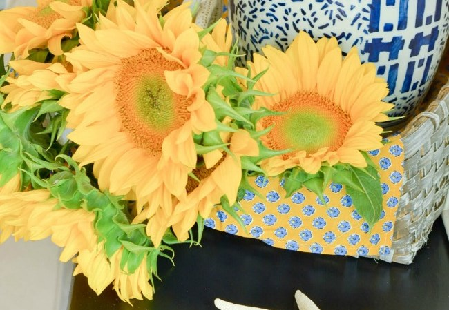 Coastal Sunflowers with Blue and White Chinoiserie