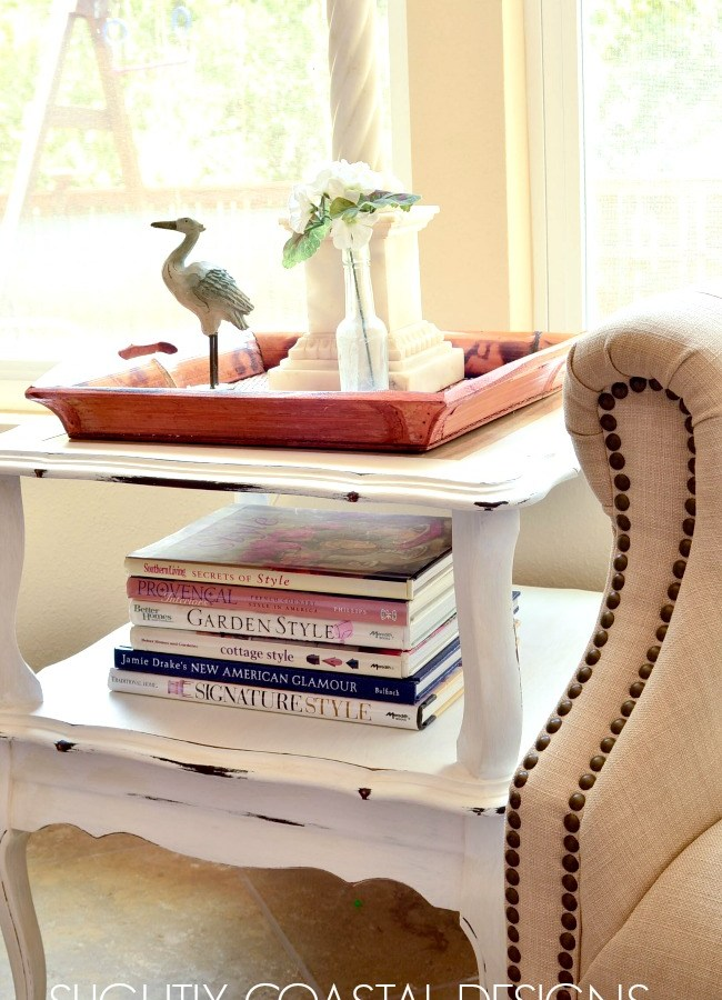 French Country Chalk Painted Table with light distressing. The layered chalk paint before and after can be found on Slightly Coastal blog.