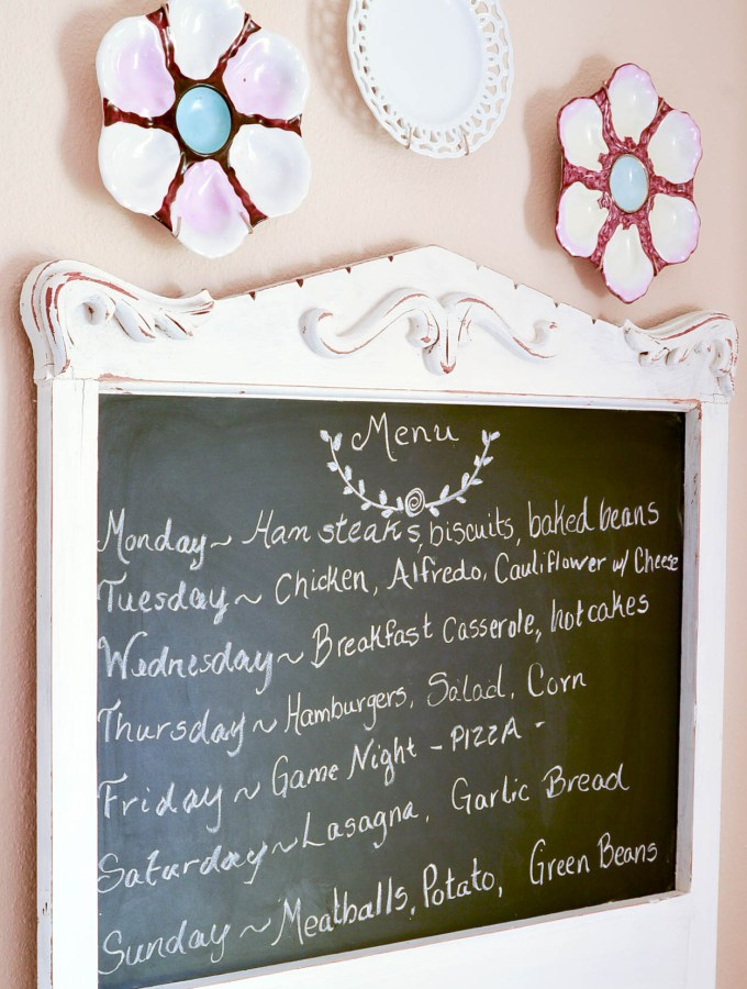 This super easy chalkboard menu is made using an old wash stand and pre-made chalkboard backing. So fast and easy!