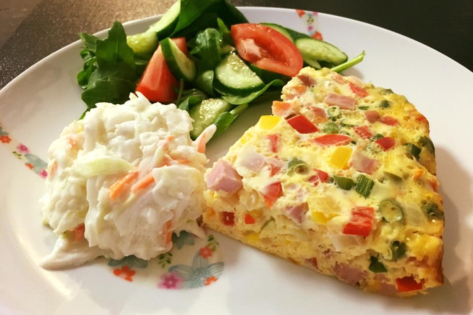 Ham And Cheese Frittata With Green Salad Recipes — Dishmaps