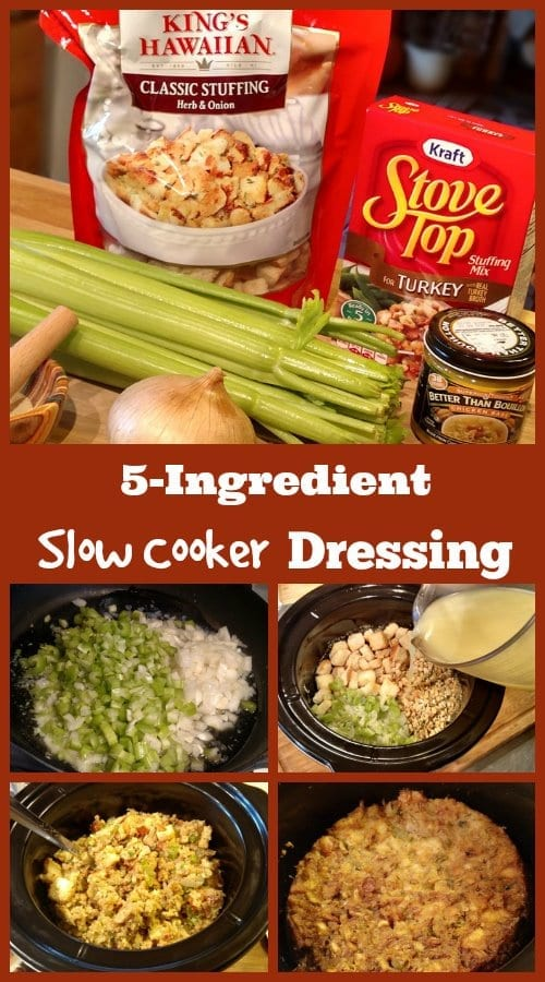 5-Ingredient Slow Cooker Dressing. Visit http://www.slowcookerkitchen.com for this recipe and more!