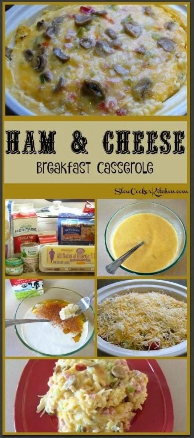 Ham & Cheese Breakfast Casserole! Find this & more @ http://www.slowcookerkitchen.com