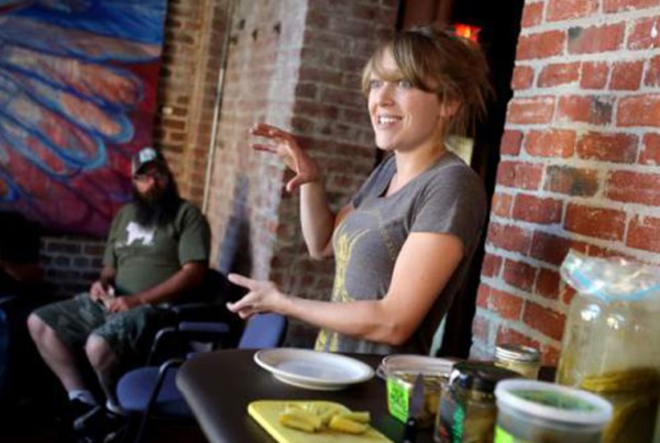 Jennifer Harris, organizer of the 2015 Farm to Fermentation Festival, gives a talk on fermentation and making pickles at the Arlene Francis Center on Sixth St. in Santa Rosa, Wednesday, July 31, 2013. (Crista Jeremiason / The Press Democrat)
