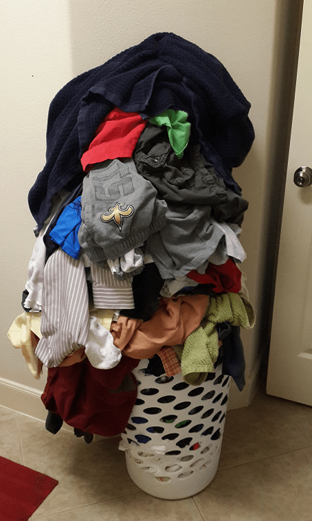 Good Old Clothes Mountain - note doorknob for scale