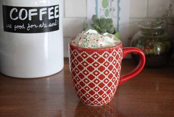 hot cocoa coffee with whip and sprinkles
