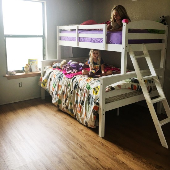 inexpensive white bunk bed