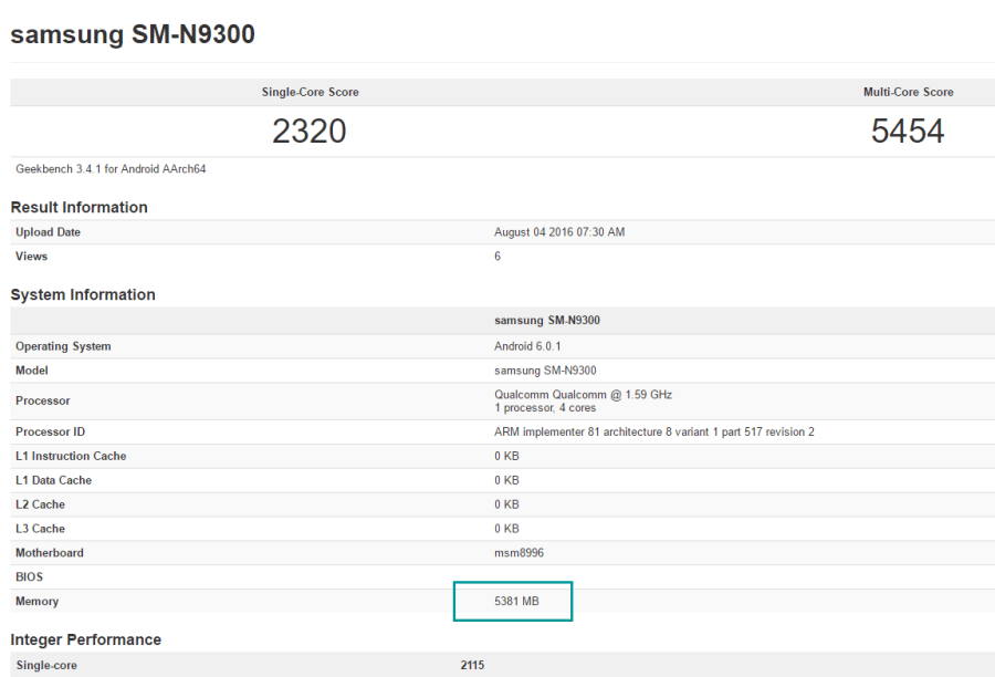note siete 6gb china geekbench