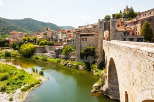Medieval stone bridge over Fluvia river in Besalu. Catalonia