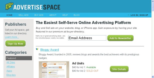 Advertise Space homepage mage