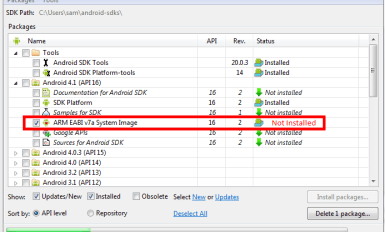 Unable to find a userdata.img file for ABI armeabi to copy into the AVD folder
