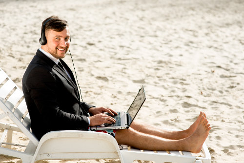 Entrepreneur on the beach
